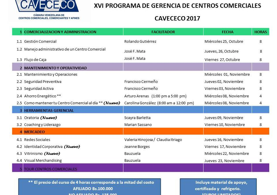 XVI PROGRAMA GERENCIAL DE CENTROS COMERCIALES 2017