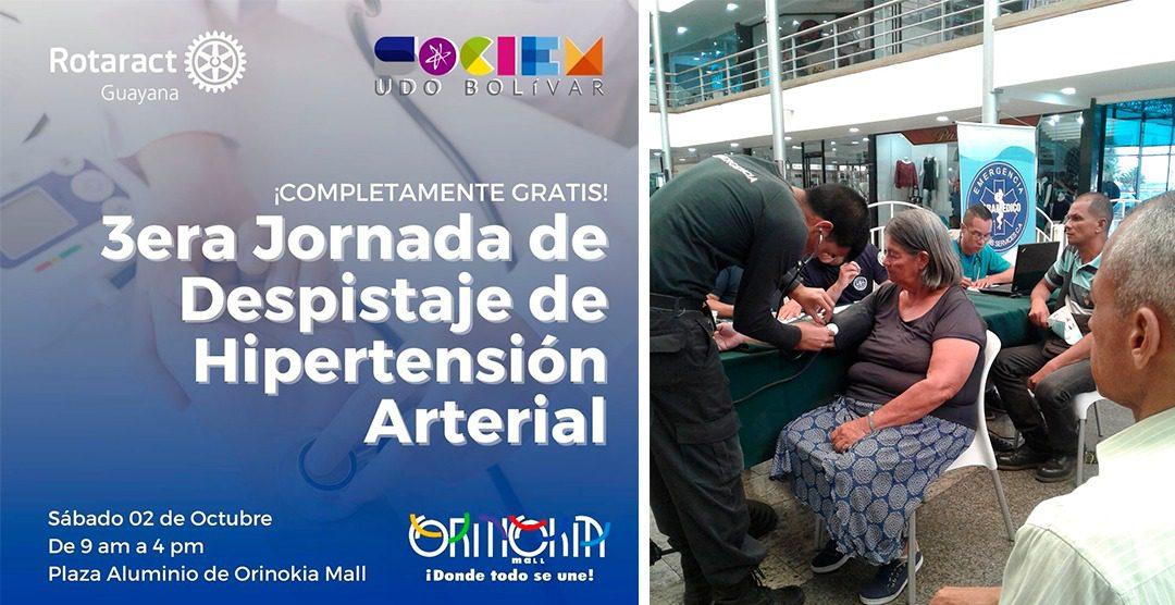 ORINOKIA MALL Y ROTARACT GUAYANA REALIZARÁN JORNADA DE PESQUISA DE HIPERTENSIÓN ARTERIAL